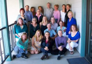 Group photo of participants in Theta healing workshop with Judy at bottom far right in blue - The Flow of Healing.com