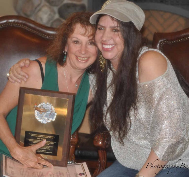 Theta Healing practitioners Judy Dragon and Vianna Stibal - hugs and smiles - The Flow of Healing.com